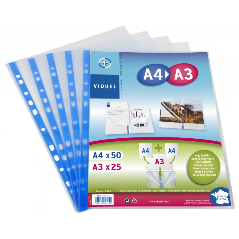 """Clear plastic envelopes to A3 sheets """"great vision"""" and A4"""