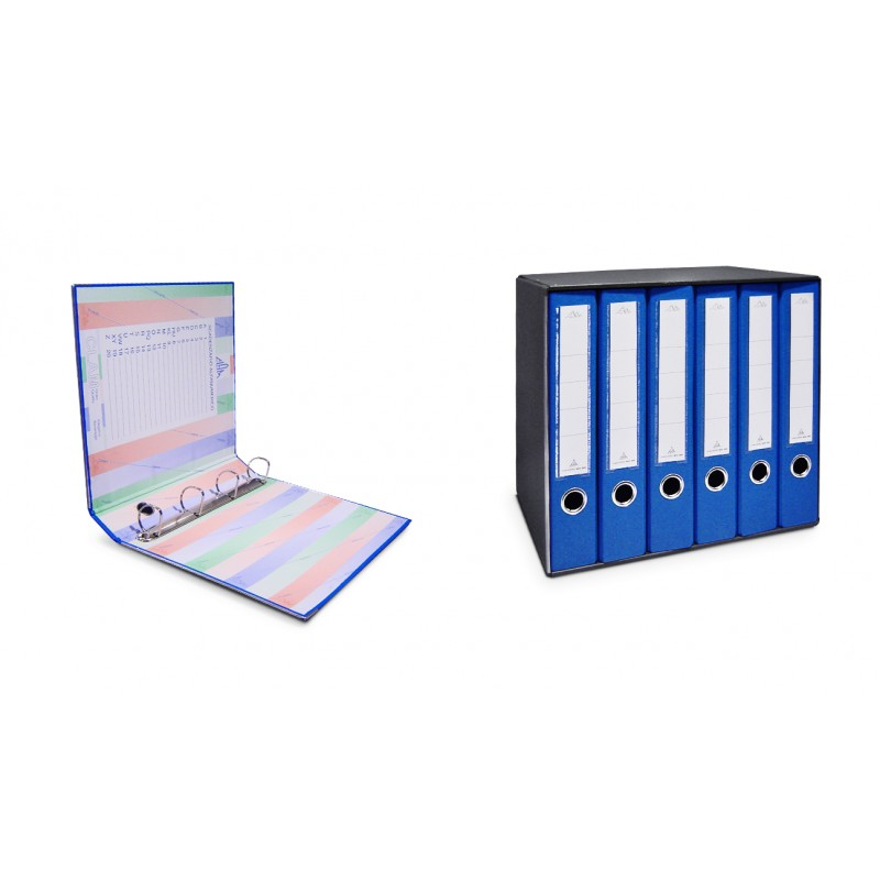 Group of 6 folders with 4 rings with back lever cm 5.5. Covered in plastic with label holder on the back complete with cardboard.